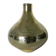 Dashelle Floral-Cut Vase, Gold
