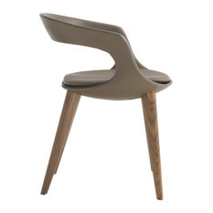 """Frenchkiss"" Low-Back Dining Chair With Canaletto Walnut Legs, Brown, Leather"
