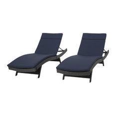 GDF Studio Nassau Outdoor Gray Wicker Chaise Lounge Navy Blue Cushions, Set of 2