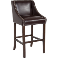 """Offex 30"""" High Walnut Barstool With Accent Nail Trim in Brown Leather"""