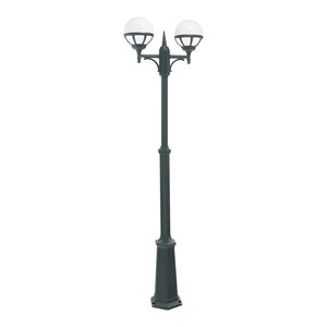 Twin Outdoor Lamp Post, Black Opal Lens