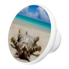 Cat On Beach Ceramic Cabinet Drawer Knob