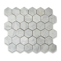 "Stone Center Online - 10.75""x11.875"" Carrara White Hexagon Mosaic Tile Honed, Chip Size 2"" - Wall and Floor Tile"