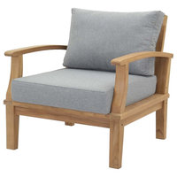 Modern Outdoor Side Dining Chair Armchair, Wood, Clear Natural
