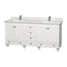 "Acclaim 72"" Double Vanity White Carrera , White, No Mirror"