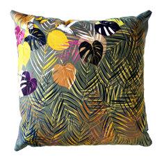 Palm Leaves Cushion, Grey