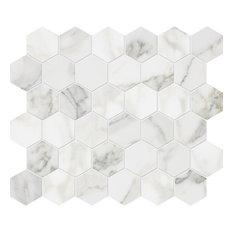 "12""x12"" Calacatta Gold Polished Hexagon Classic Mosaic"