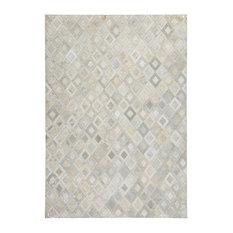 Spark Diamonds Leather Area Rug, Grey and Silver, 120x170 cm