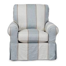 Slipcovered Swivel Chair in Beach House Blue