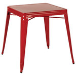 OSP Home Furnishings - Paterson Metal Table, Red - Made without any fabric, the colorful OSP Designs Patterson Metal Table would be perfect on a patio, in a stylish garage or any industrial home. The compact design and four bold color options make this not only gender neutral, but an extremely versatile addition to a space. The scratch free rubber buffers on the underside of the four legs will help keep your floors in pristine condition so you can keep collecting complements on your table for years to come.