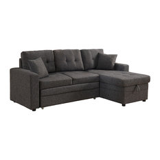 MOD - Cayler Sectional Sofa With Storage and Pull-Out Bed, Gray - Sleeper Sofas