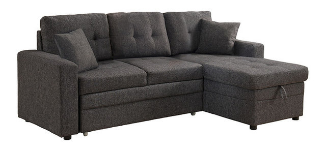 Cayler Sectional Sofa With Storage And Pull Out Bed, Gray
