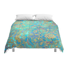 Society6 Sapphire and Jade Stained Glass Mandalas Comforter, Full, 79x79