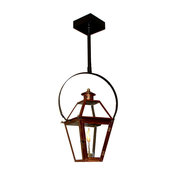 "French Quarter Copper Lantern, Black, 15"", Classic Yoke, Natural Gas"