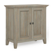Amherst Solid Wood Low Storage Cabinet, Distressed Gray