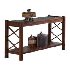 Elegant Monarch Specialties   Console Table, Dark Brown With Slate Top   Console  Tables