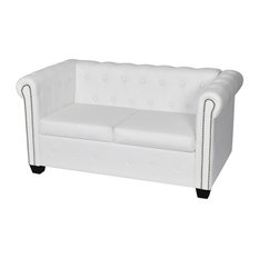 Vidaxl Artificial Leather Chesterfield 2 Seater Sofa White Sofas