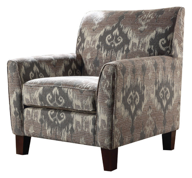 Acme Cyndi Accent Arm Chair, Ikat Pattern Fabric
