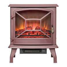 "Golden Vantage 20"" Freestanding Portable Electric Fireplace Heater, Brown"