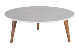 "Manhattan Comfort Moore 23.62"" Round Low Coffee Table in Gray"