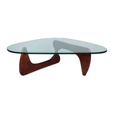 LeisureMod Imperial Modern Glass Top Wooden Base Triangle Coffee Table, Cherry