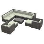 Urban Furnishing - Aruba Outdoor Patio Furniture Sofa Sectional, 11-Piece Set, Beige - - Designer Gray Wicker Pattern