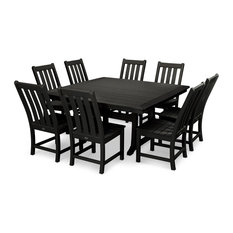 POLYWOOD Vineyard 9-Piece Dining Set, Black