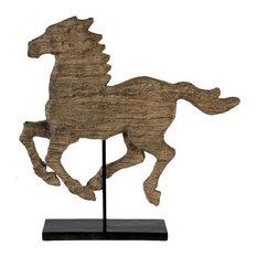 """Wood-Look Horse Sculpture 19""""x3""""x19.5"""""""