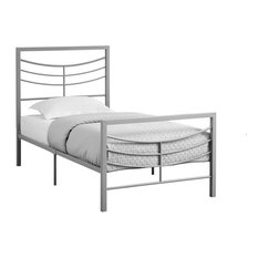 European Inspired Bed, Metal Frame Only, Silver, Twin