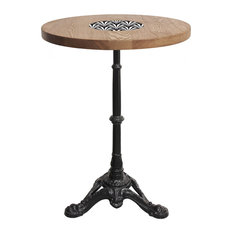 Round Oak Bistro Table With Enamel Inlay, Large