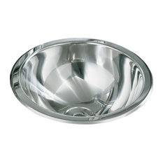 Buffed Polished Mirror Stainless Steel Round Bathroom Sink, Stainless Steel