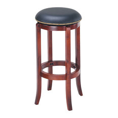 Chelsea Swivel Bar Stool Black PU And Oak Finish