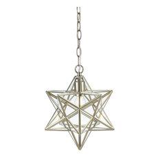 "Stella 12"" Moravian Star Metal/Clear Glass LED Pendant, Nickel/Clear"