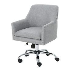 GDF Studio Morgan Fabric Home Office Chair with Chrome Base, Gray