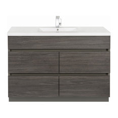 Karoo Ash 48'' Contemporary Handless Vanity 4 Drawer With Single Bowl Top