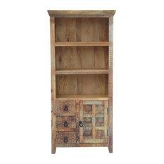 Aravali Distressed Vintage Look Bookcase With Drawers