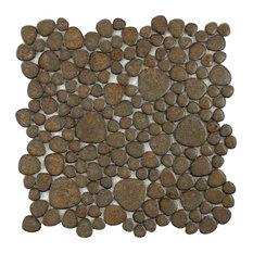 """11""""x11"""" Quarry Porcelain Mosaic Tiles, Set of 10, Brownstone"""