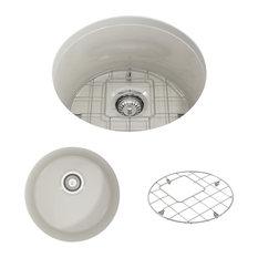 """Sotto Undermount, Round Kitchen Sink With Grid and Strainer, Biscuit, 18"""""""