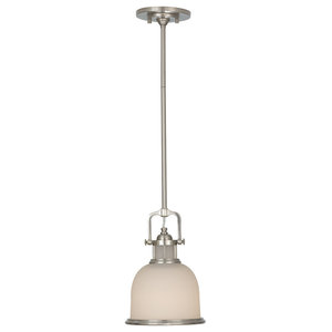 Parker Place Retro Pendant, Brushed Steel, Small