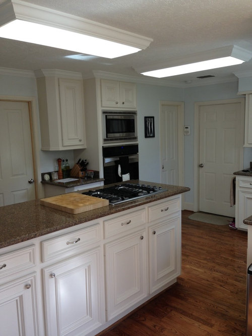 Kitchen lighting help needed  what can I replace the fluorescent strips with?