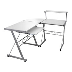 vidaXL Computer Desk Workstation With Pull Out Keyboard Tray, White