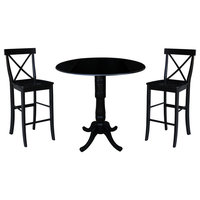 """42"""" Round Pedestal Bar Height Table with 2 Bar Height Stools"""