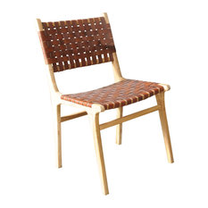 Stol Handwoven Leather Dining Chair, Tan