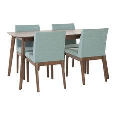 GDFStudio   Katherine Mid Century Fabric U0026 Wood Finish 5 Piece Dining Set,  Walnut/