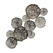 Metal Floral Wall Decor, Silver