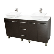 Windbay 60-inch Free Standing Double Vanity Brown White Stone Flat Countertop