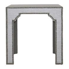 Vanguard Furniture   Vanguard Furniture Tallyho Steel Bingham Upholstered  Side Table   Side Tables And End