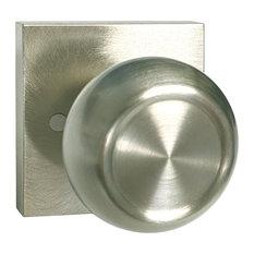 Satin Nickel Square Plate Round Knob Contemporary Door Handle, Dummy