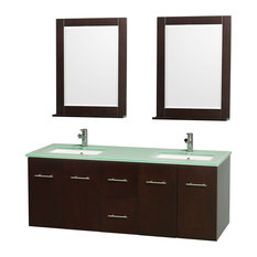 "Centra 60"" Espresso Double Vanity, Green Glass Top, Undermount Square Sinks"
