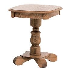 Country Style Solid Oak Pedestal End Table, Autumn Oak